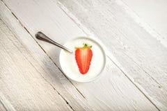 Fresh strawberry yogurt Stock Photos