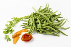 Fresh string beans. Are on a white background royalty free stock photos