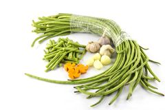 Fresh string beans. Are on a white background stock image