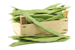 Fresh string beans in a wooden crate Stock Photo