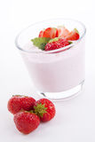 Fresh strwaberry yoghurt shake cream  Stock Photo