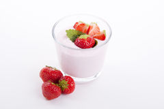 Fresh strwaberry yoghurt shake cream  Stock Images