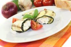Fresh stuffed courgette rolls Stock Image