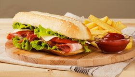 Fresh submarine sandwich with cheese, bacon, tomatoes and lettuc Royalty Free Stock Photo