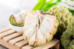 Fresh sugar apple fruitCustard Apple,sweetsop on wooden table royalty free stock photos