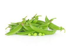 Fresh sugar snap peas isolated on a white background.  Stock Image