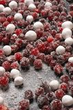 Fresh and sugared cranberries. On black background Stock Image