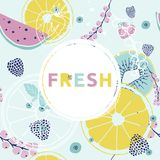 Fresh summer background. Colorful hand drawn font, fruits, berr royalty free illustration