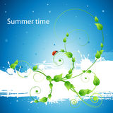 Fresh summer background with pattern and ladybird Royalty Free Stock Photography