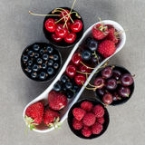Fresh summer berries in bowls. Top view. Royalty Free Stock Photography