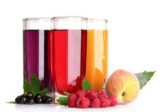 Fresh summer berries and juice on white Royalty Free Stock Images