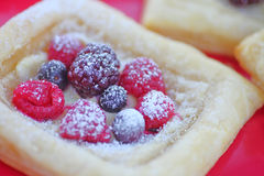 Fresh summer berries on puff pastry Stock Photography