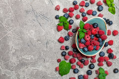 Fresh summer berries in vintage bowl Stock Images