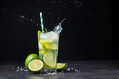 Fresh Summer Caipirinha Cocktail With Splash Royalty Free Stock Images