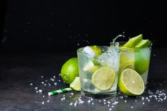 Fresh Summer Caipirinha Cocktail With Splash Stock Images