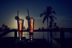 Fresh summer cold alcoholic drinks exotic cocktails. royalty free stock photography