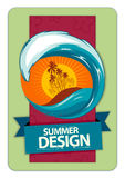 Fresh summer design. Background for your text. Retro style. Vector illustration Royalty Free Stock Image