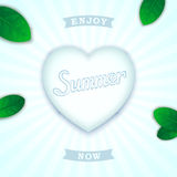 Fresh summer design. Summer concept design. Volumetric heart with inscription and green leaves on fresh background Stock Photo