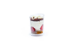 Fresh summer dessert. With forest fruit, ice cream, pudding and chocolate Stock Photo