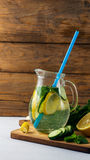 Fresh Summer Drink. Healthy detox water with lemon, cucumber and mint Royalty Free Stock Image