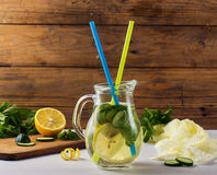 Fresh Summer Drink. Healthy detox water with lemon, cucumber and mint Royalty Free Stock Photos