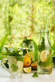 Fresh summer drinks in glassware on white wooden table Royalty Free Stock Photo
