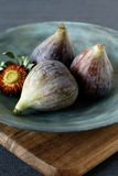 Fresh summer figs on wooden table Stock Photo