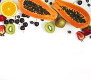 Fresh summer fruit and berries. Concept of healthy eating. Stock Photography
