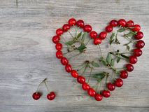 Cherry love heart background summer fruit royalty free stock photo