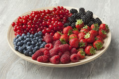 Fresh summer fruit on a plate Royalty Free Stock Photo