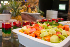 Fresh SUmmer fruit salad with assorted jelly Royalty Free Stock Image