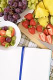 Fresh summer fruit salad, cookbook, copy space vertical Royalty Free Stock Photography