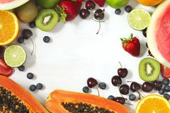 Fresh summer fruits and berries. Concept of healthy eating. Stock Images