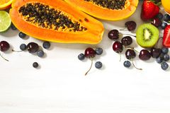 Fresh summer fruits and berries. Concept of healthy eating. Royalty Free Stock Photo