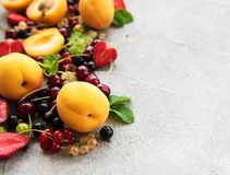 Fresh summer fruits. On a concrete background stock photos