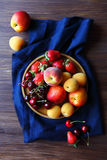 Fresh summer fruits top view. Fresh summer fruits(strawberry, apricots, cherry) top view Royalty Free Stock Photos
