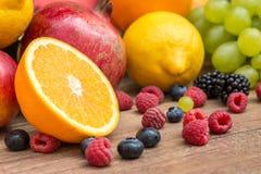 Fresh Summer Fruits. On Wood Table Stock Image