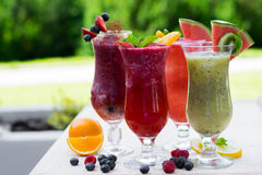 Fresh summer fruity smoothies Royalty Free Stock Photography