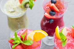 Fresh summer fruity smoothies Stock Images