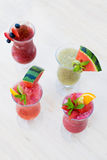 Fresh summer fruity smoothies Stock Photography