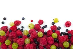 Various fresh summer berries on a white background. Top view. Fresh summer gooseberries, currant, blueberries raspberries Top view Royalty Free Stock Photo