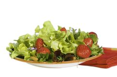 Fresh Summer Green Salad With. Strawberries ~ Red Napkin ~ Isolated On White ~ Close up Royalty Free Stock Photos