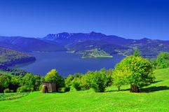 Fresh summer landscape with Carpathian mountain and lake Royalty Free Stock Photography