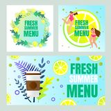 Fresh Summer Menu Banners Set with Typography stock illustration