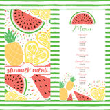 Fresh summer menu template with color tropical fruits. Fresh summer menu template with color tropical fruits: watermelon, pineapple, lemon. Colorful background Royalty Free Stock Photos