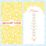 Fresh summer menu template with yellow bright lemon slices Royalty Free Stock Photos