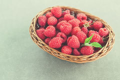 Fresh summer raspberry in a basket. Selective focus. Fresh summer raspberry in the basket. Selective focus Royalty Free Stock Photography