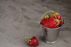 Fresh summer ripe strawberries in a small bucket on a gray concrete background. Lit by the bright sun. Gray background stock image