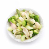 Fresh summer salad with celery broccoli and asparagus Royalty Free Stock Image