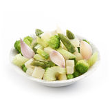 Fresh summer salad with celery broccoli and asparagus Royalty Free Stock Photos